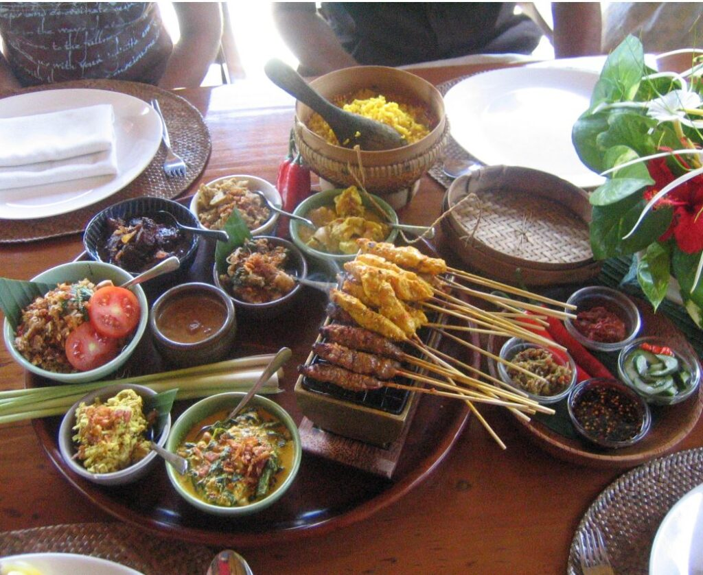 Bali traditional meal with pork