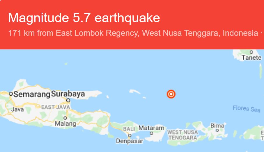 Powerful 5.7 Earthquake Near Lombok Shakes Bali