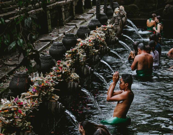 bali local in shrine bath