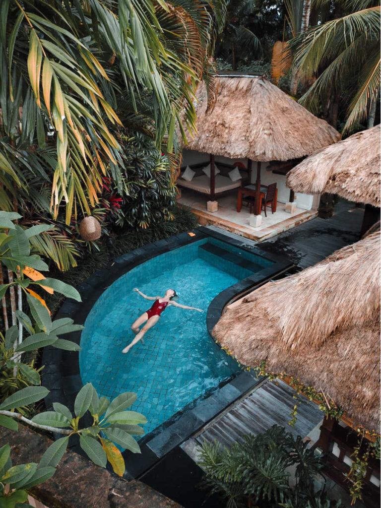 bali tourist in pool