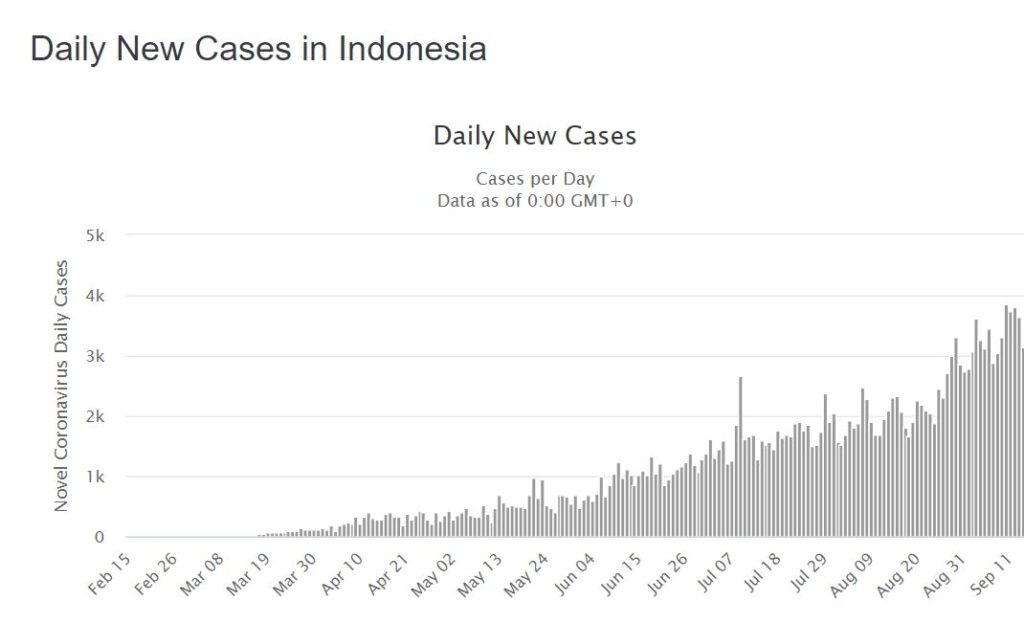 Daily COVID-19 cases Indonesia (Image - Worldometers)