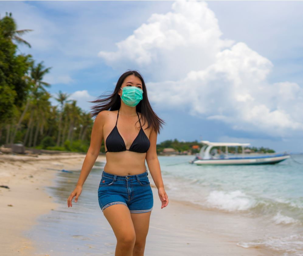 Tourist in Bali with face mask