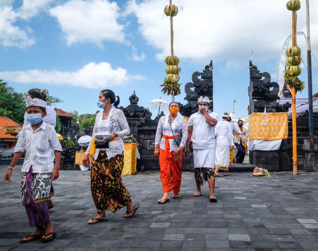 Bali locals wearing masks