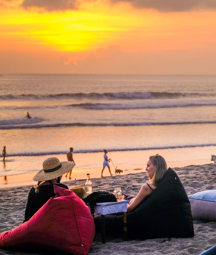 bali tourists on beach
