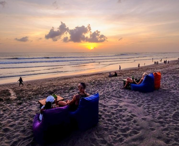 tourists at beach in Bali