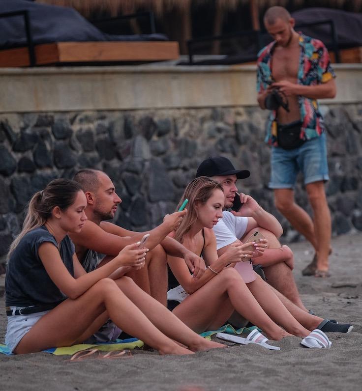 Tourists Bali beach