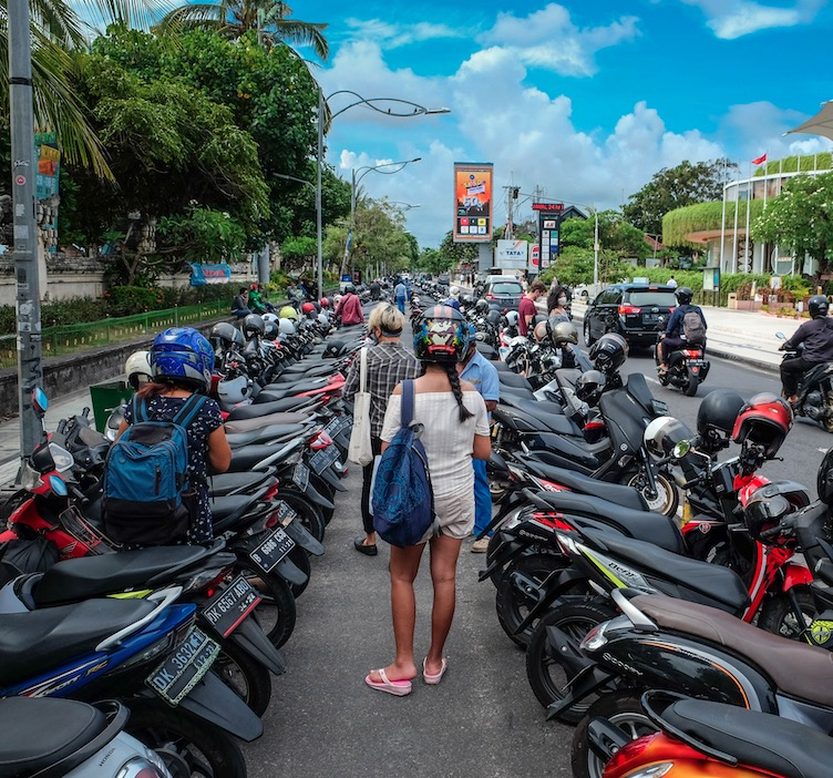 parked motorbikes in Bali