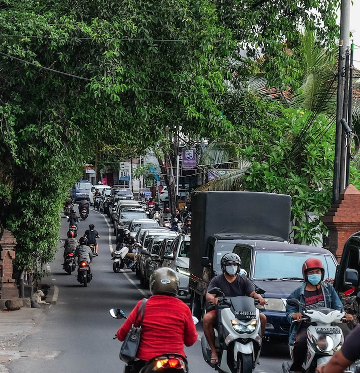 traffic in Bali street trees