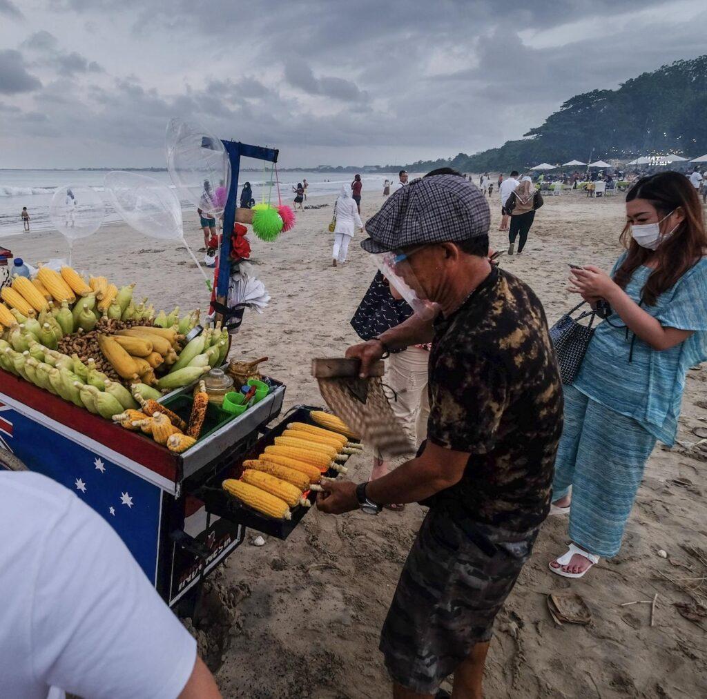 Bali beach food vendor masks