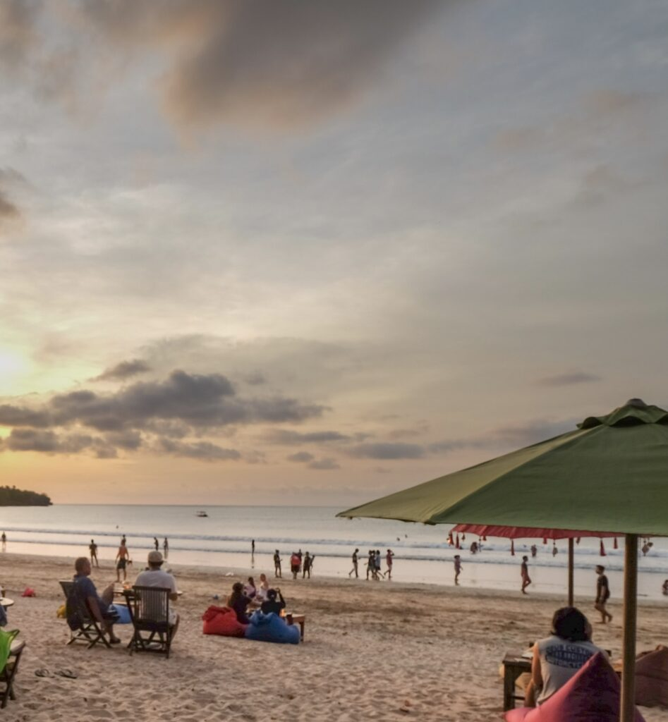 Bali beach tourists