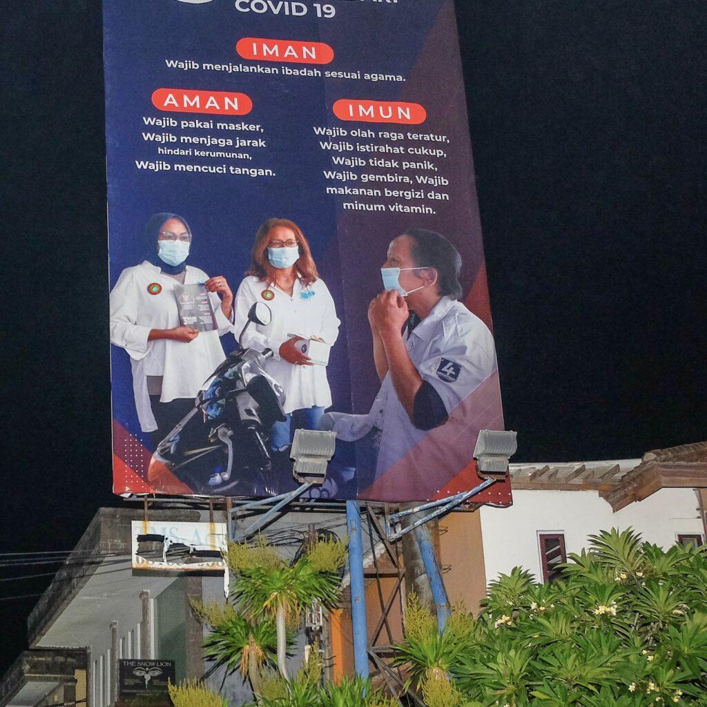 Bali masks COVID-19 prevention sign