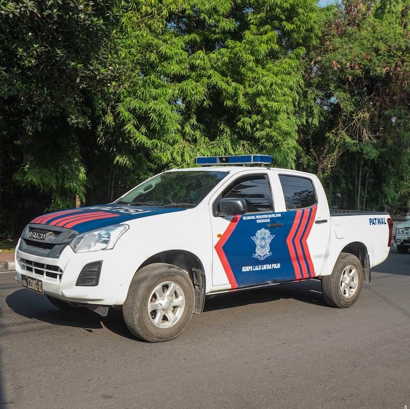 Bali police truck