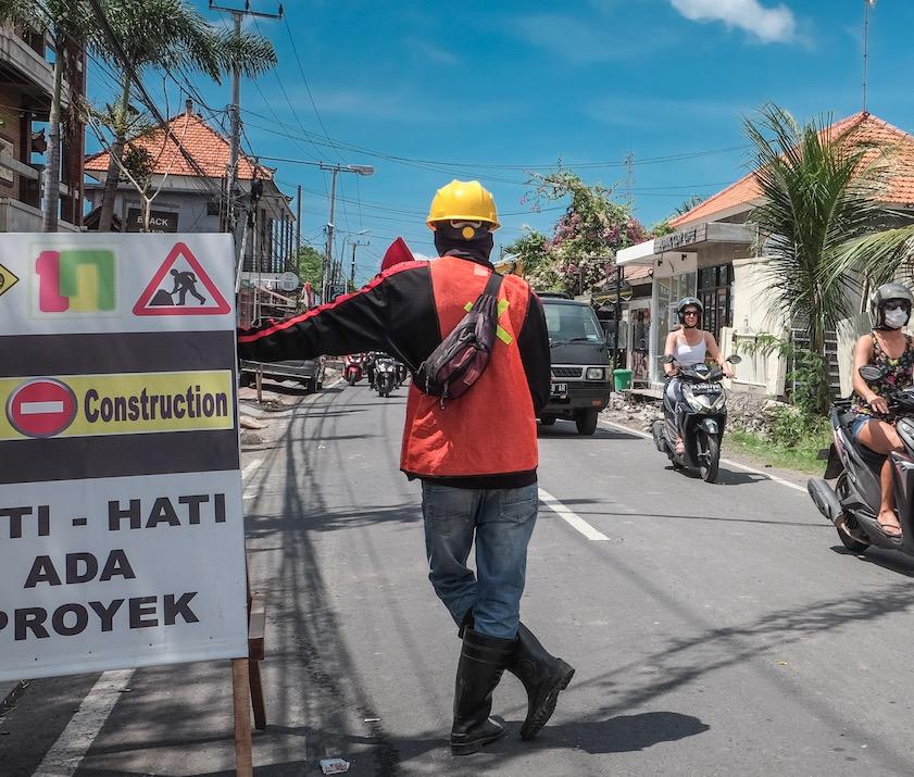 construction on Bali road