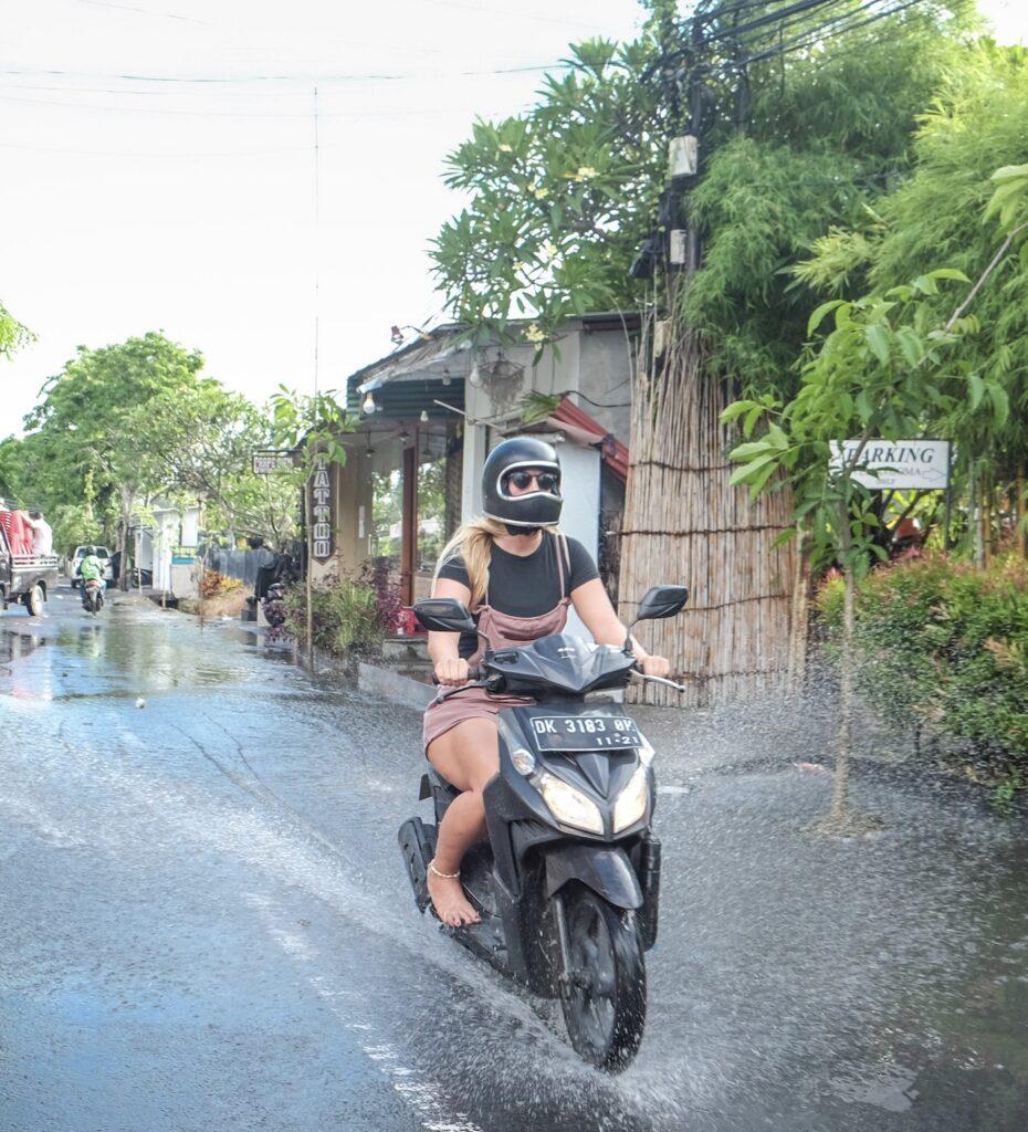 motorcyclist rain bali