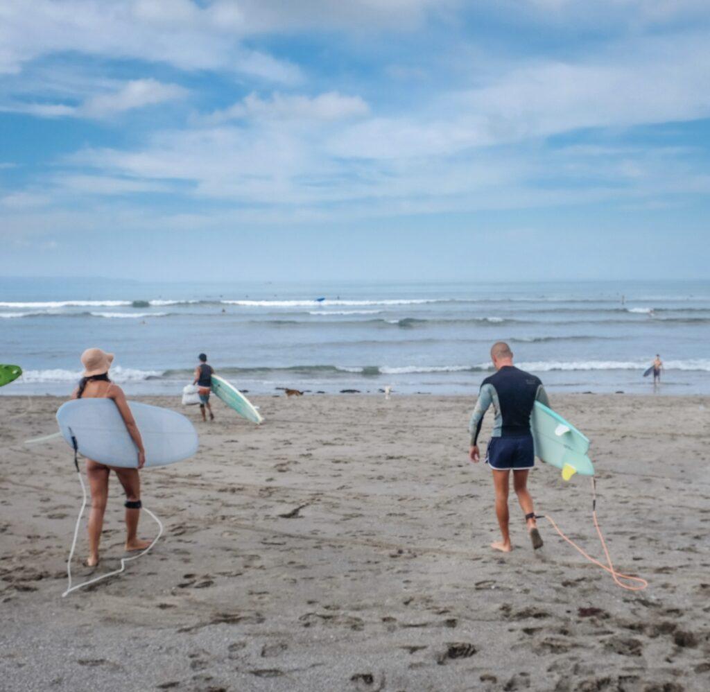 surfers at Bali beach