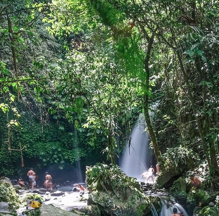 waterfall at lake in Bali