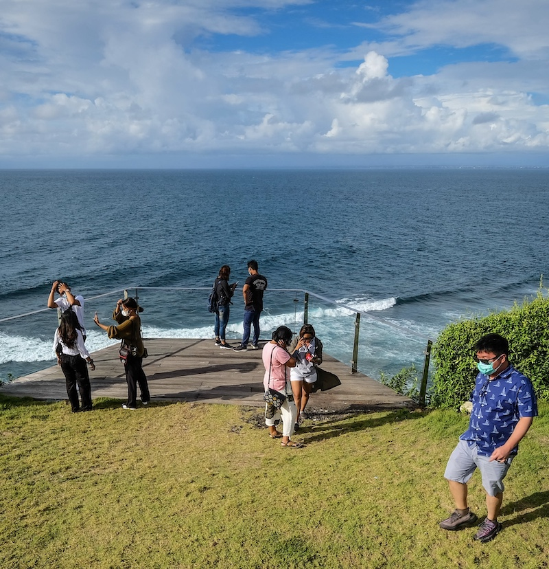 Bali tourists sightseeing on mountain