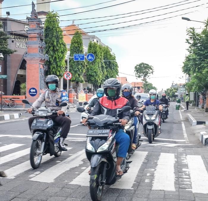motorbikes on road