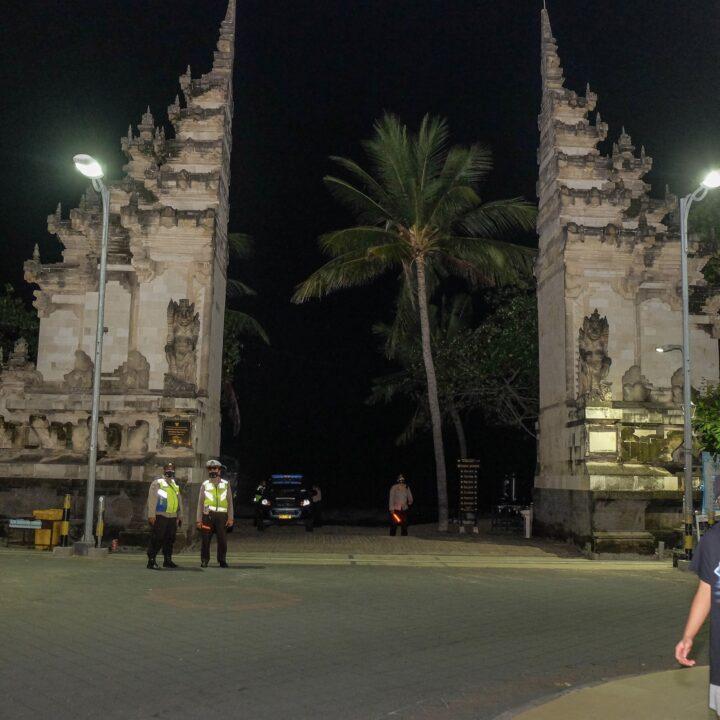 Officials Patrol Kuta Beach On Nyepi Day of Silence