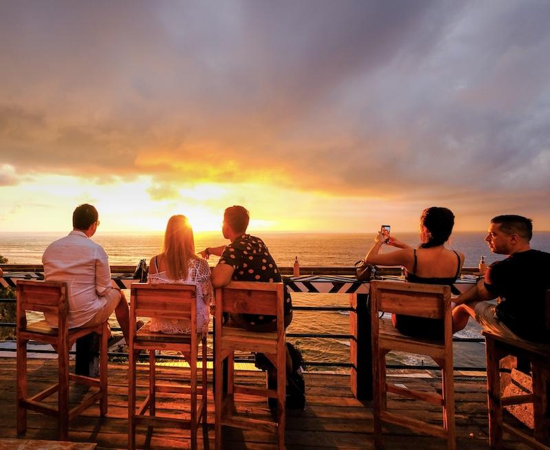 international tourists Bali sunset