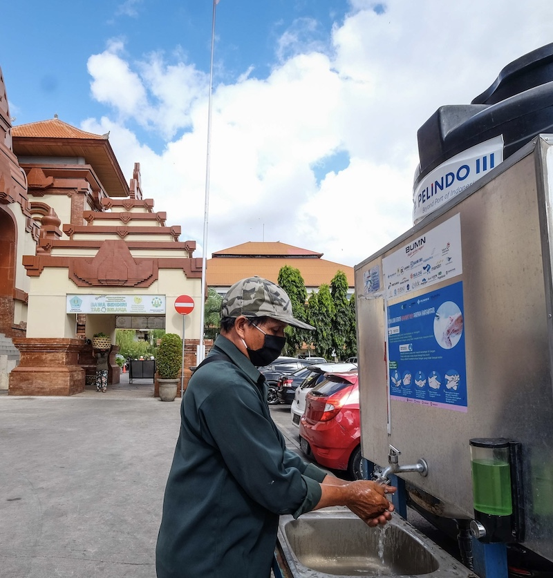 local mask handwashing station
