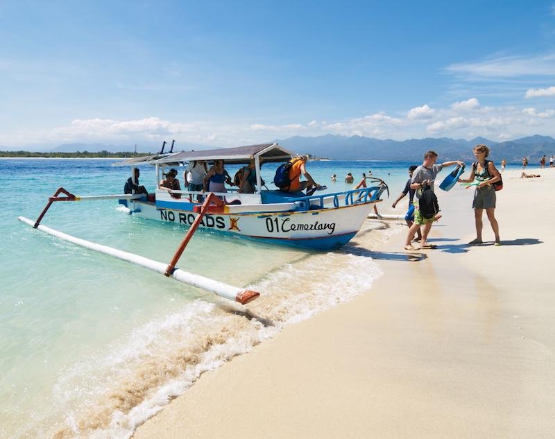 tourists at Gili Trawangan Island, Indonesia