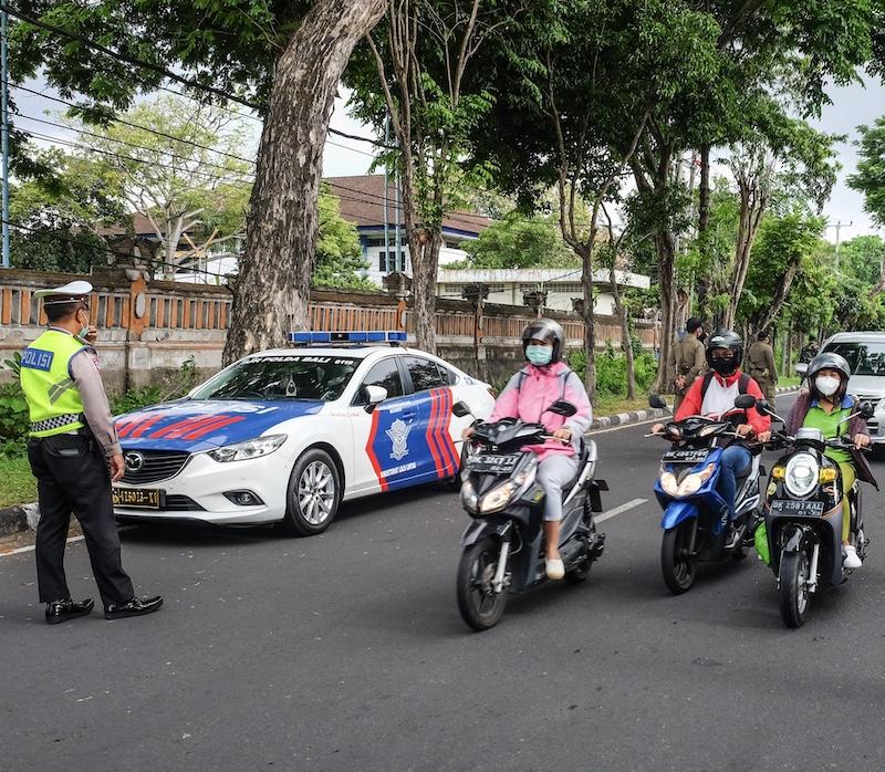 Bali traffic police motorbikes