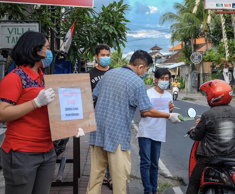 locals distributing masks