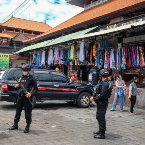 Two leaders of a Bali civil organization have been arrested for extorting many local vendors in a traditional market in Denpasar.